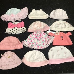 Other - 12 baby girl hats various sizes